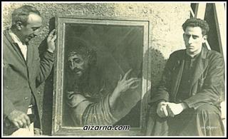 """Don Juan Epelde, """"Urbano""""margolariarekin. Aizarnari oparitu zioen margoarekin. /( Argazkia Mari Karmen Epelde)"""