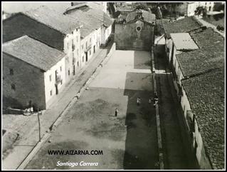Zz-Vista de  Aizarna desde el campanario de la Iglesia. año 1945 Aizarnako plaza 1945 urtean