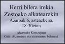 Azaroak 6 arratsaldeko 18;30etan bilera irekia alkatea bertan delarik.Gaia: Aizarnak dituen beharrak aztertzea. Bilera Aizarnako kontzeju zaharrean izango da, nahi duenak hurbildu.