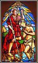 San Juan eguna ospatzeko, Jesus  bataitzea irudikatzen duen beirazko lehio koloretsua, ojiba-arku itxurarekin.  2020/06/24