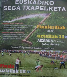 Euskadiko sega txapelketako kanporaketa ospatu zen Aizarnan, hemen hau adierazten duen kartela.